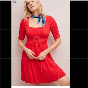 Anthropologie corseted red dress